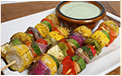 Skewered Vegetables with Cilantro Sauce Recipe