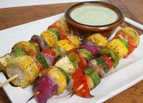 Skewered Vegetables with Cilantro Sauce