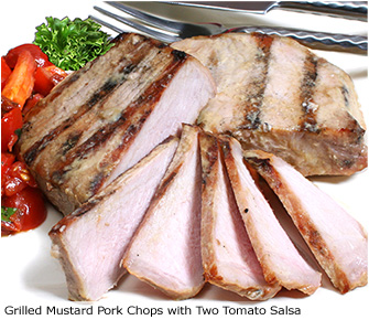Grilled Mustard Pork Chops with Two-Tomato Salsa